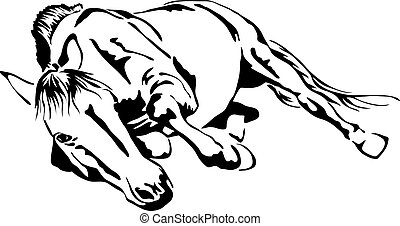 black and white vector outlines of rolling horse