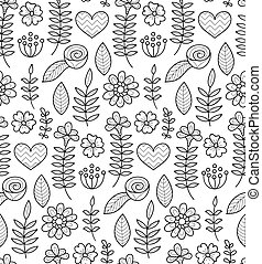 Black and white vector seamless floral pattern. Summer endless background with flowers and hearts.