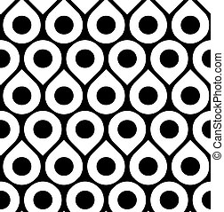 Black and white vector seamless pattern with droplets and...