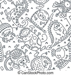 Black and white vector seamless pattern with funny monsters