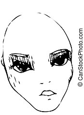 sketch bald girl with big eyes - black and white vector...