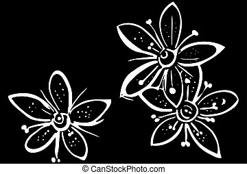 vector sketch blooming beautiful flower - black and white...