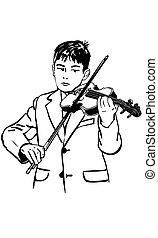 sketch boy is practicing the violin
