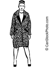 vector sketch of a beautiful woman in a coat and shoes