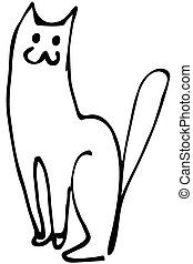 vector sketch of a cat sitting