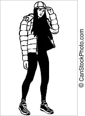 girl in a cap and down jacket