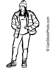 girl in a jacket and winter boots