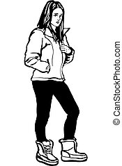 sketch of a girl in a jacket and winter boots