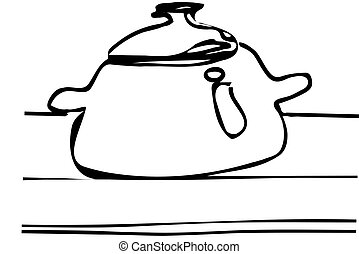vector sketch of a large saucepan with a lid on the table
