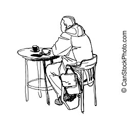 sketch of a man at a table drinking coffee