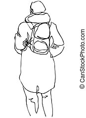 vector sketch of a man in a coat with a backpack behind his back
