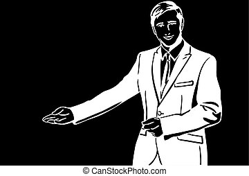 vector sketch of a man in a suit invites with his hand
