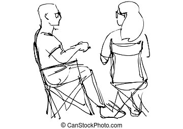 man in glasses and a woman resting sitting on collapsible chairs