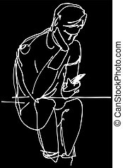 vector sketch of a man sitting and looking at the phone