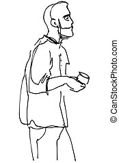 vector sketch of a man with a beard drinking coffee