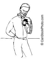 vector sketch of a man with a beard looking at the phone