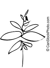 vector sketch of a plant twig and leaves