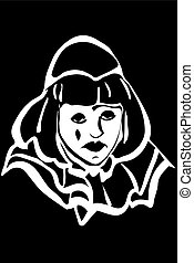 sad white clown - black and white vector sketch of a sad ...