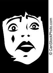 vector sketch of a sad white clown