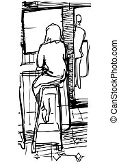 Stools Arranged At Coffee Bar Count This Illustration Is