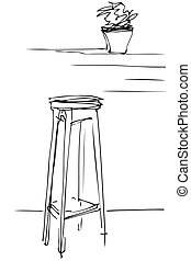 sketch of a tall wooden stool and flower room