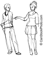 vector sketch of a woman pointing at a man