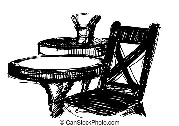 black and white vector sketch of a wooden chair near the round table