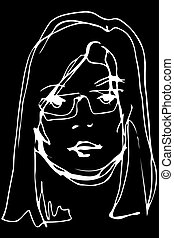 vector sketch of a young beautiful blonde girl with glasses