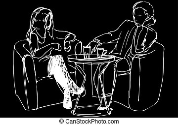 sketch of a young couple in a cafe at a table
