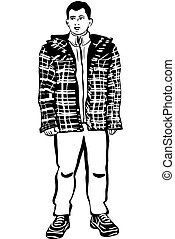 sketch of a young man in a winter jacket