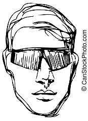 vector sketch of a young man in sunglasses