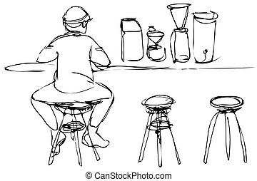 black and white vector sketch of a young man on a stool at the bar counter