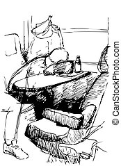 vector sketch of a young man sleeping on a table by the window in the train locomotive