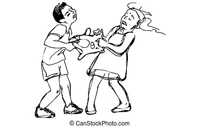 vector sketch of boy and girl children are fighting over a toy