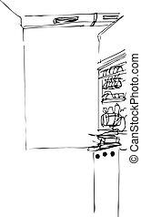 vector sketch of interior of kitchen