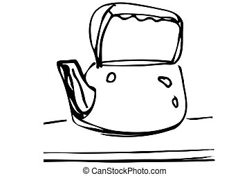 vector sketch of metal teapot on the table