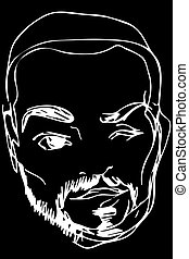 vector sketch of the face of an adult male with a beard