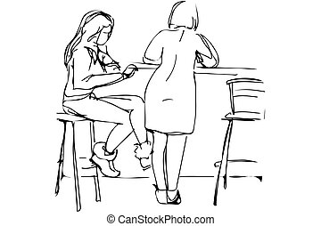 vector sketch of two young women in a cafe on the high stools