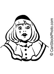vector sketch white mime with big eyes
