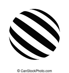 Black and white vector sphere of lines.