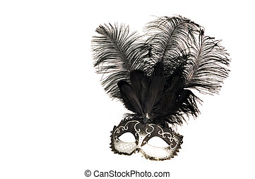 black and white venetian mask with feathers on white ...