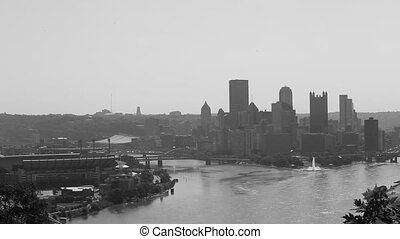 Black and white version America Pittsburgh skyline
