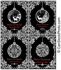 Black and white vintage cards for New Years and Christmas holiday with decorative hanging ball with winter landscape, deer, snowfall and floral vignette