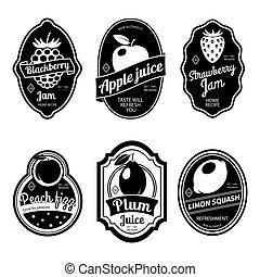Black and white vintage fruit labels