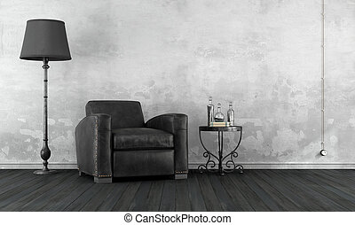 Black and white vintage room