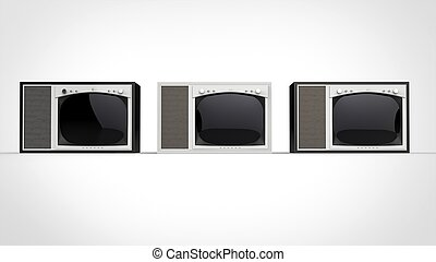 Black and white vintage TV sets - front view