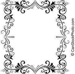 Black and white vintage vertical vector frame.