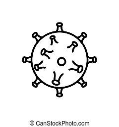 Black and white volumetric icon of harmful chinese new virus...