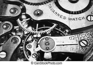 Closeup black and white photo of a watch.