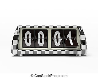 Black-and-white watch - counter isolated on white background
